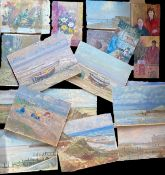 Keith Johnson, Norfolk landscapes, beach scenes etc, group of 20 oils on panel/card, some signed,