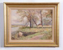 """AR Owen Waters (1916-2004), """"River Wensum, near Drayton, Norwich"""", oil on board, signed lower"""