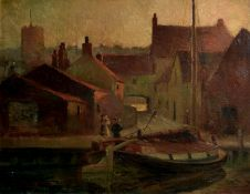 Horace Walter Tuck, Norwich view and Harbour scene, two oils on canvas, both signed, 34 x 45cm and