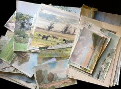 Keith Johnson, Norfolk Landscapes etc, folder of 80+ watercolours, some signed, assorted sizes,