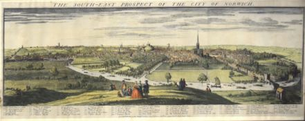 "After S & N Buck, ""The south east prospect of the City of Norwich"", reproduction coloured print,"