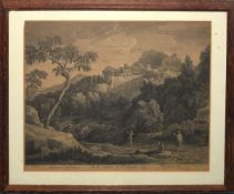 After G Poussin, engraved by J Mason, Italianate landscape, black and white engraving, published