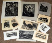 Folder of original wood engravings to include F M Green and Hester Holman