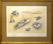 John Paley, Duck Shooting, coloured print, signed and numbered 154/200 in pencil to lower margin,
