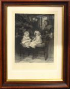 "After Helen Allingham, engraved by Stodart, ""Paying for the doll"", black and white engraving,"