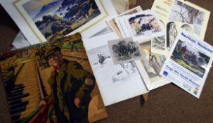 Folder of assorted prints etc to include Norman Neasom etc