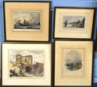 Collection of five antique hand coloured engravings of East Anglian interest, assorted sizes (5)