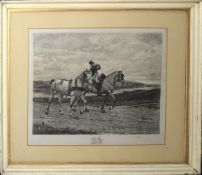 After Meissonier, engraved by A Mongiy, Figure with two horses, black and white etching, published