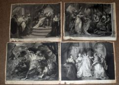 Shakespeare - folder of ten black and white plates from The Shakespeare Gallery, engravings after
