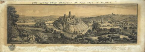 "After S & N Buck, ""The south west prospect of the city of Durham"", black and white engraving,"