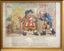 "After James Gillray, ""John Bull and the Alarmist"", hand coloured etching, published by H Humphrey,"