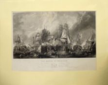"After C Stanfield, engraved by W Miller, ""The Battle of Trafalgar"", black and white engraving,"