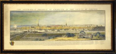 "After S & N Buck, ""The south west prospect of Yarmouth, in the county of Norfolk"", hand coloured"