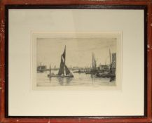 """Douglas Ion Smart (1879-1970), """"The Three Cranes"""", black and white etching, signed in pencil to"""