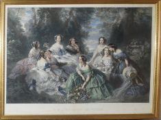 "After F Winterhalter, engraved by Leon Noel, ""S M L'Imperiatrice des Francais - Entouree des Dames"