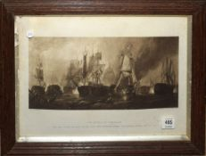 "After Clarkson Stanfield, ""The Battle of Trafalgar"", black and white print, published by the Art"