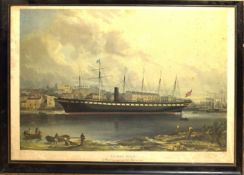 "After F Walter, ""SS Great Britain"", reproduction coloured print, 33 x 48cm"