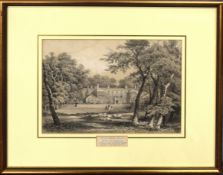 "19th century black and white lithograph, ""Earlham Hall - the birthplace and only home of Joseph John"