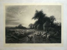 Joseph Farquharson, engraved by Herbert Sedcole, Sheep grazing, black and white engraving, published