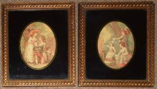 Group of four 19th century engravings, genre scenes, assorted sizes, (4)