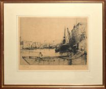 """Frank Potter (20th century), """"Waterloo Bridge"""", black and white etching, signed in pencil to lower"""