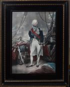"""After Sir W Beechey, """"Nelson"""", coloured print, 43 x 30cm"""