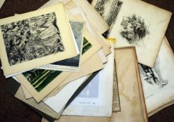 Large folder of assorted prints etc