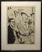 """•AR Dame Laura Knight (1877-1970), """"Some clowns"""", black and white etching, signed in pencil to lower"""
