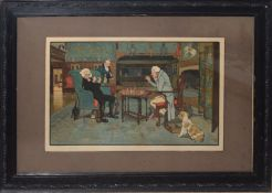 Cecil Aldin, Interior scenes with game of chess and the card game, pair of coloured prints,