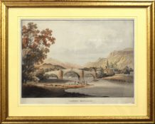 "After Laport, engraved by B Comte, ""Llanroost Bridge, Merionethshire"", hand coloured aquatint,"