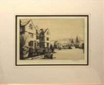 Alan Carr Linford, RWS, ARE, ARCA (born 1926), Country House, black and white etching, signed in