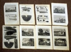 Packet containing 18 black and white engraved plates from Bankes's New System of Geography, all