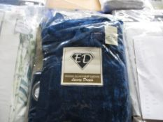 Rosdorf Park Malaki Crushed Velvet Eyelet Room Darkening Curtains, Colour: Navy Blue, Panel Size: