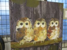 Alpen Home 'Three Tawny Owls' Acrylic' Painting Print on Canvas, Size: 60cm H x 60cm W x 3.8cm D,