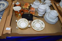 BOX OF VARIOUS CERAMIC ITEMS INCLUDING TWO MINTON BOWLS AND STANDS