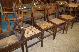 SET OF THREE CANE SEATED BEDROOM CHAIRS