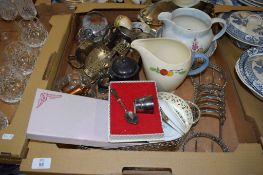 POTTERY AND PLATED ITEMS INCLUDING A GRINDLEY DECO JUG AND A POOLE POTTERY BOWL