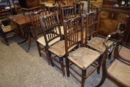 SET OF SIX LANCASHIRE SPINDLE BACK RUSH SEATED DINING CHAIRS