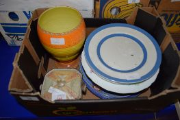 BOX CONTAINING CERAMIC ITEMS INCLUDING A SHELLEY POTTERY VASE AND T G GREEN DINNER PLATES
