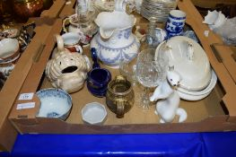 BOX CONTAINING CERAMIC ITEMS INCLUDING A LARGE 19TH CENTURY JUG AND MODERN MEISSEN STYLE TEA POT (