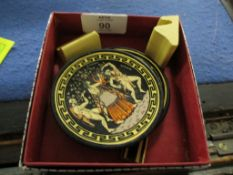 SMALL BOX OF GREEK POTTERY DISHES WITH CLASSICAL FIGURES