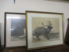 MARGARET HARRISON SIGNED CHARCOAL SKETCH DATED 1918, A FURTHER STILL LIFE PRINT