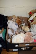 BOX CONTAINING SOFT TOYS INCLUDING VARIOUS TEDDYS AND DOGS