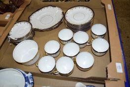 BOX CONTAINING TEA WARES INCLUDING NINE CUPS, SAUCERS, SANDWICH PLATE ETC