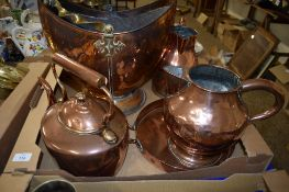 BOX CONTAINING COPPER WARES INCLUDING A COAL SCUTTLE WITH METAL HANDLE, COPPER KETTLE AND JUGS