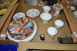 BOX OF CERAMIC ITEMS INCLUDING COLLECTORS PLATES BY ROYAL DOULTON FEATURING ANNE BOLEYN AND HENRY