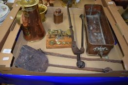 BOX OF COPPER AND BRASS WARES INCLUDING A COPPER PLANTER, SET OF SMALL BRASS SCALES AND WEIGHTS
