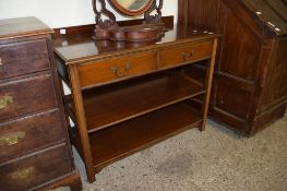 MAHOGANY BUFFET WITH TWO DRAWERS OVER TWO OPEN SHELVES, 108CM WIDE