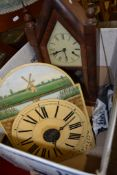 POSTMAN'S ALARM WALL CLOCK AND A FURTHER CATHEDRAL STYLE MANTEL CLOCK, 40 AND 50CM HIGH