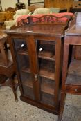 MAHOGANY GLAZED FRONT CABINET WITH PIERCED PEDIMENT, 47CM WIDE